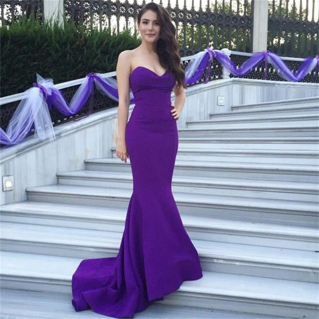 Purple Elegant Free Shipping Sweep Train Sleeveless Evening Dress Trumpet  Strapless Satin Prom Celebrity Party Gowns Dresses 9358473b5eba