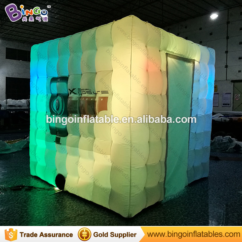 Free shipping 2.4m Portable Inflatable photo booth with led lighting and logo printing toy tent  free shipping 3x3x2 4m inflatable photo booth cube inflatable photo booth led inflatable photo booth for sale