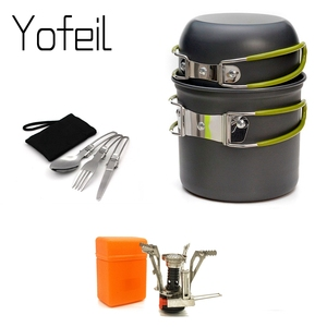 Outdoor Pot Mini Gas Stove Sets Camping Hiking Cookware Picnic Cooking Set Non-stick Bowls With Foldable Spoon Fork Knife(China)