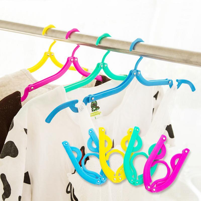 Flolding Coat Clothes Rack Travel Foldable Clothes Hanger Plastic Simple Clothing Drying Rack Non-slip Costume Hanger