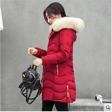 Cotton-padded Jacket Women Coat Winter 2016 New Hooded Fur Collar Medium long Cotton Down Jacket Big yards Keep Warm Coat G1595