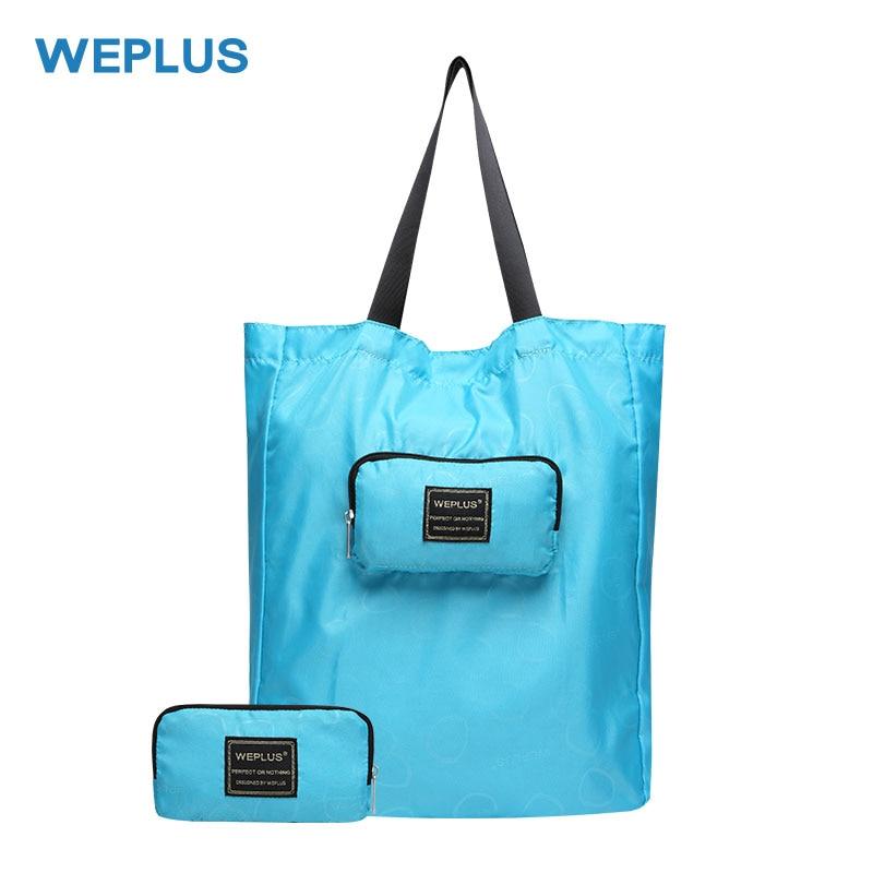 WEPLUS Travel Foldable Shopping Bag Women Men's Nylon Canvas Folding Bags Fashion Portable Duffle Bag Tote Eco Reusable Handbag