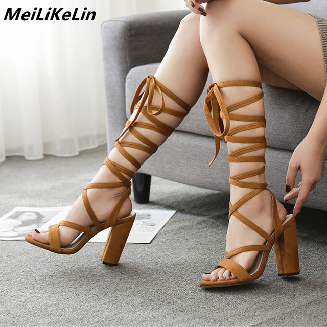 e27017765eed9 2019 New Sexy knee high Strappy Gladiator Women Sandals Thick High Heels  Boots Woman Lace-