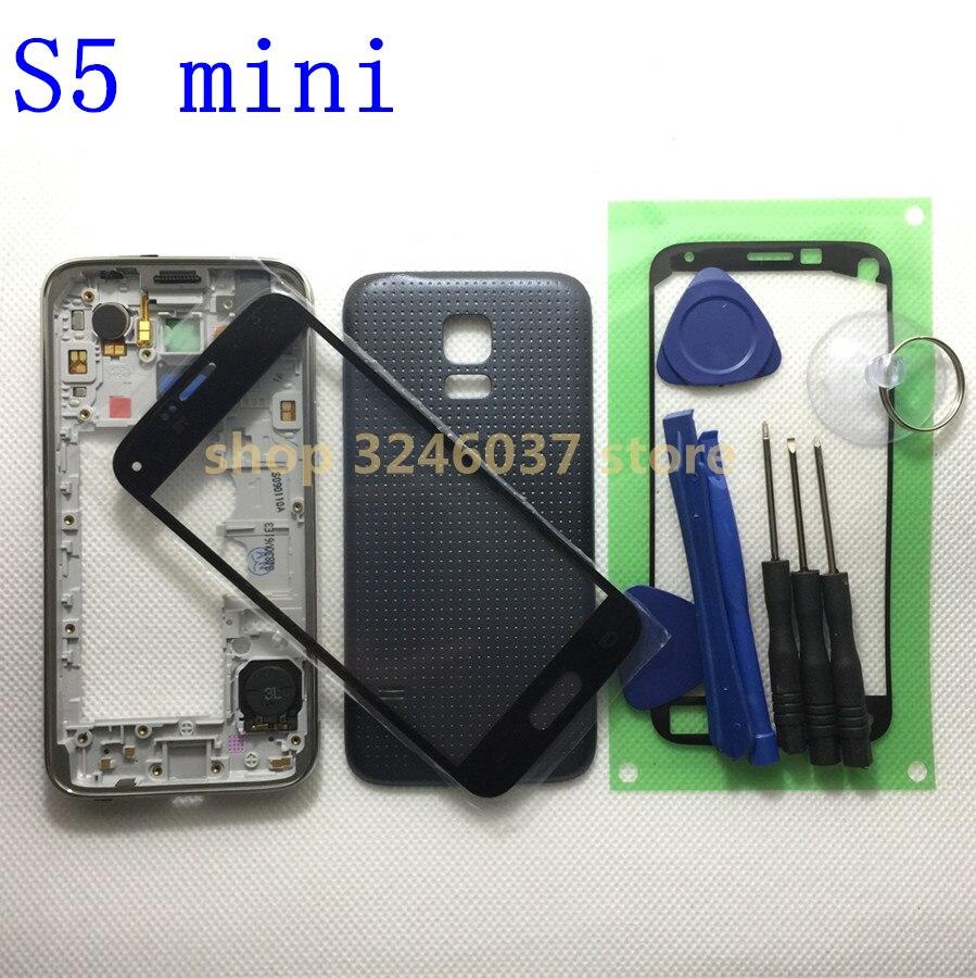 G800 Logement Lunette de Cas moyen-cadre Pour Samsung Galaxy S5 mini G800F et arrière et Avant en verre et adhésif & tool