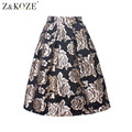 Z&KOZE Women Summer Skirt Floral Print Ball Gown Pleated Midi Skater Skirt New 2016 High Waist Vintage Gold Rose Skirts