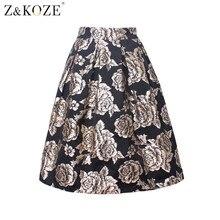 Z&KOZE Women Summer Skirt Floral Print Ball Gown Pleated Midi Skater Skirt New 2016 High Waist Vintage Gold Rose Skirts