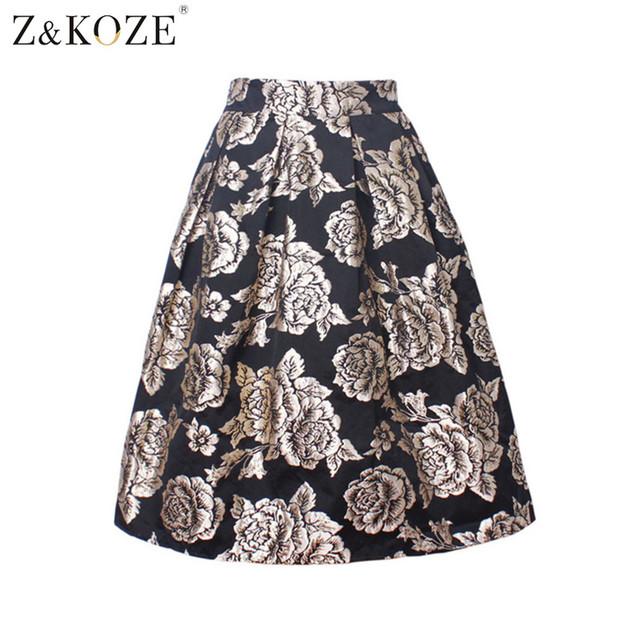 Z & koze verano de las mujeres falda de la impresión floral del vestido de bola plisado midi skater falda nuevo 2016 de cintura alta vintage oro rosa faldas
