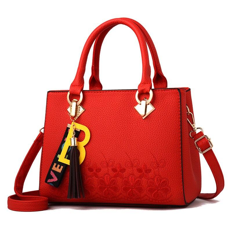 JIULIN вышивка цветы B кулон Для женщин сумки на плечо из искусственной кожи Повседневное сумки простые женские сумки женские ноутбук портфели