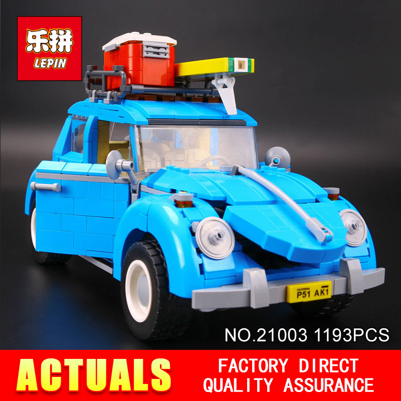 New LEPIN 21003 1193Pcs Creator Series City Car Beetle model Building Blocks Compatible 10252 Blue Technic children toy gift lepin 21003 series city car beetle model building blocks blue technic children lepins toys gift clone 10252