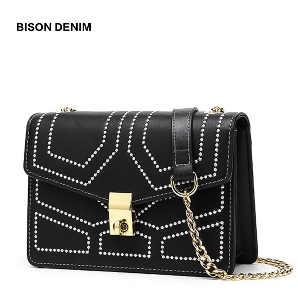 BISON DENIM Cow Leather Luxury Women Bag Hollow out Design Shoulder Bag Female Messenger Bag Crossbody