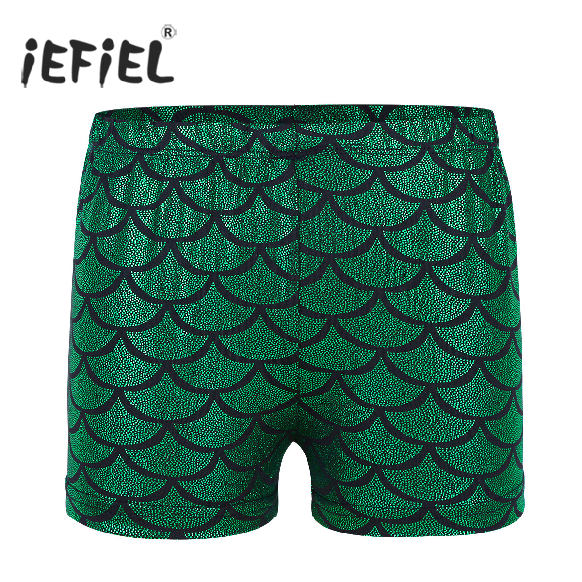 Girls Shiny Mermaid Scales Printed Dance Shorts Bottoms Activewear for Sports Gymnastic Leotard Workout Shorts for Dancing