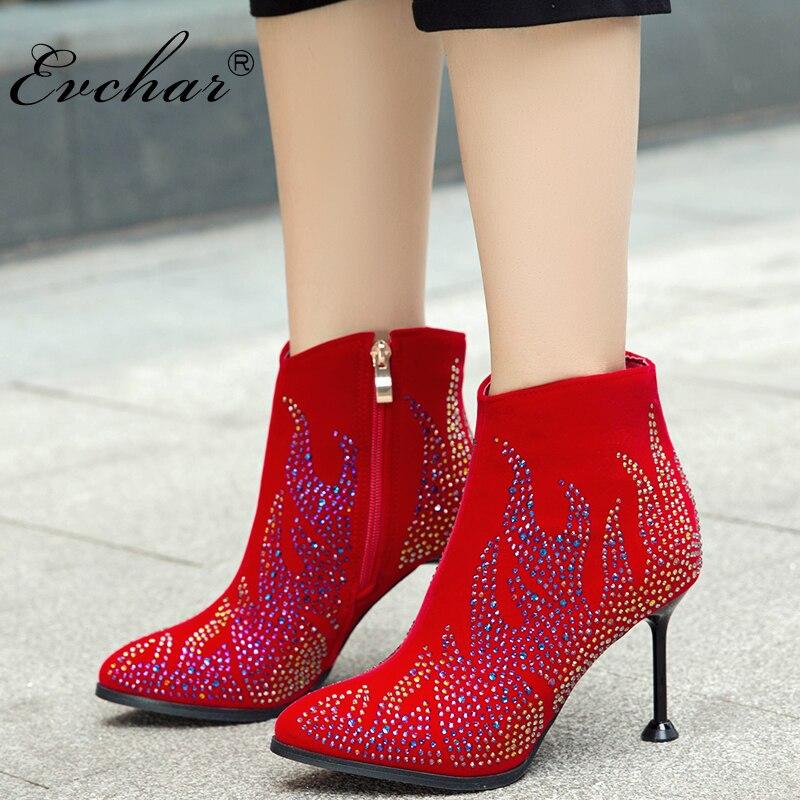 EVCHAR antumn hiver femmes mode talons hauts courtes bottes en peluche cristal bottines pour femmes chaussures noir rouge grande taille 32-50