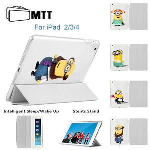 MTT For Apple IPad 2 3 4 Case Minions Filp Stand Smart Cover 4th 3th 2th Generation Automatic Wake Sleep Feature