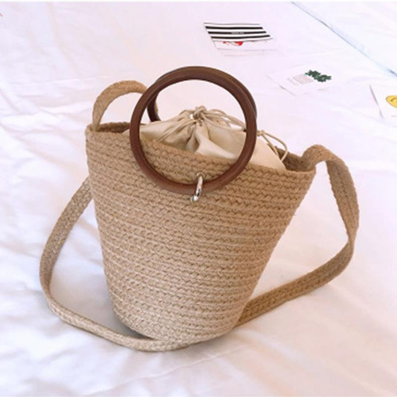 Energetic Jhd-handmade Cute Bucket Bag Straw Bags Beach Bags Bucket Holiday Braided Bags For Girls Bohemian Girls Woven Handbag Attractive Fashion Shoulder Bags
