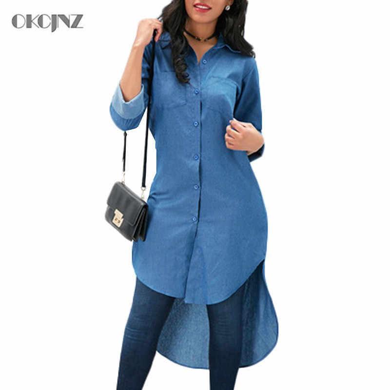 Vintage Casual Losse Lange Mouwen Denim Shirts Single Breasted Harajuku Vrouw Kleding Plus Size Camisa Blouses Feminina Okq417