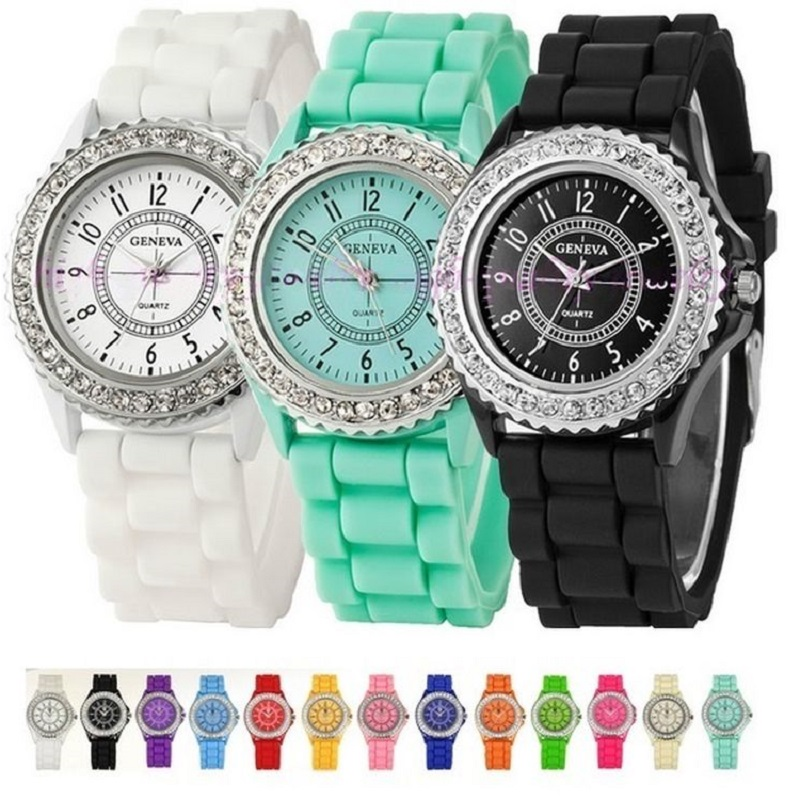 10 Pcs Silicone Gnova Platinum Rhinestone Silver Crystal Watch Women Silicon Fashion Genava Style Wholesale LOT