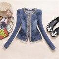Mulheres Denim Camisa Estilo Europeu 2016 Blusa Cowboy Roupas Femininas Tops Para Mulheres Lace Side Magro Jaqueta A2752