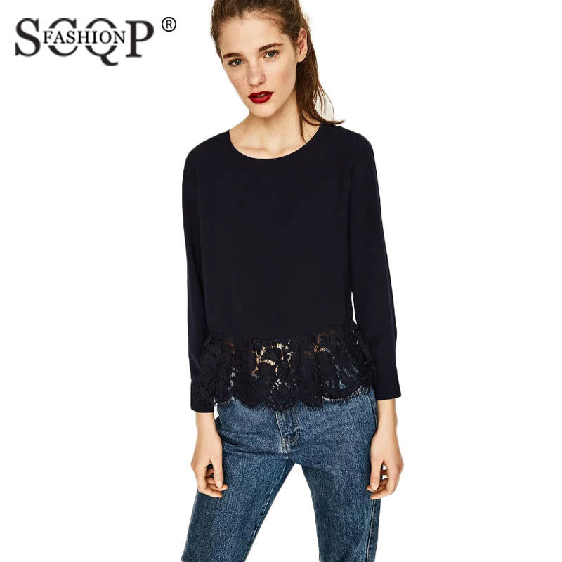 SCQP FASHION 2017 New Fashion Lace Solid Women Shirts Office Work Summer Tops Casual Fashion Formal Shirt off Shoulder Tops