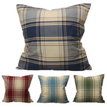 CURCYA Nordic Mediterranean Classic Check Cushion Covers Plaid Decorative Throw Pillow Covers Spring Summer Pillow Cases цены