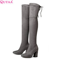 QUTAA 2018 Women Over The Knee High Boots Short Plush Inside Keep Warm Winter Fashion Sexy