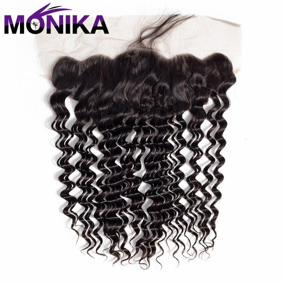 Monika 13*4 Lace Frontal Peruvian Deep Wave 100% Human Hair Closure 13x 4 Lace Front Non Remy