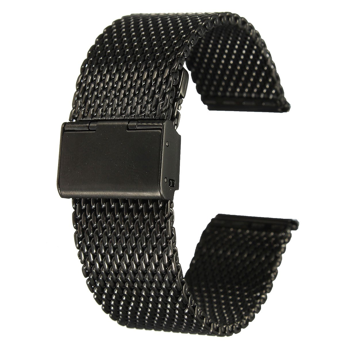 Practical 22mm Unisex Stainless Steel Chainmail Watch Strap Band New Year Gift black