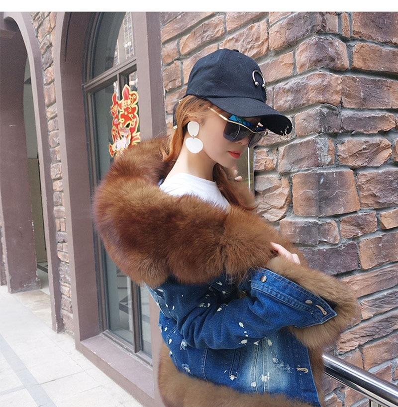 Réel 1 6 D'hiver Marque Denim 4 Color Parkas Amovible color Veste color Femmes 2018 Renard 3 color 2 Manteau Parka color Naturel Chaud Fourrure 5 color Épais De qTtT0px