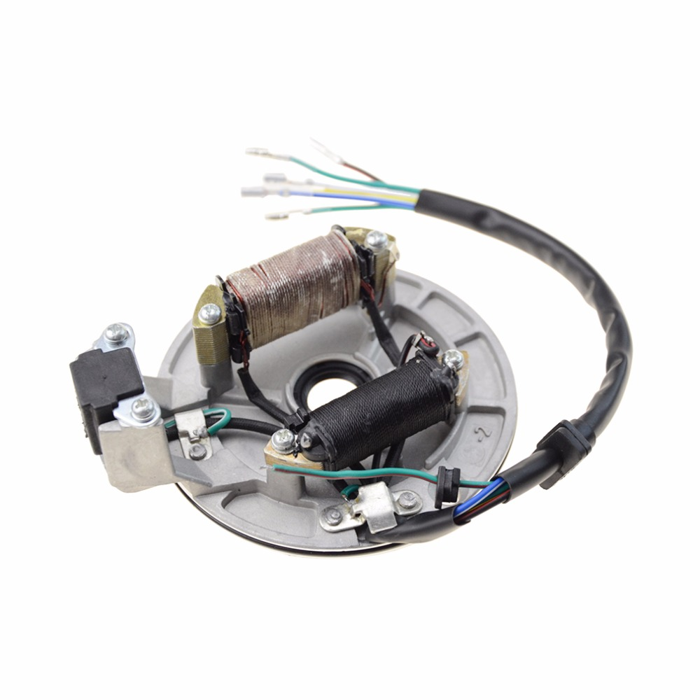 GOOFIT 2 Coil Half Wave Magneto Stator for 50cc 125cc Electrical Start k079 001 in Motorbike Ingition from Automobiles Motorcycles