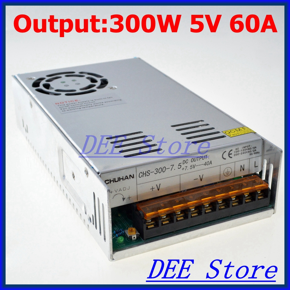 Led driver 300W 5V 60A Single Output  ac 110v 220v to dc 5v Switching power supply unit for LED Strip light allishop 300w 48v 6 25a single output ac 110v 220v to dc 48v switching power supply unit for led strip light free shipping