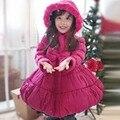 Niñas chaqueta de invierno niño nuevo 2015 invierno navidad engrosamiento mantener caliente princesa rosa roja de la capa del algodón muchachas