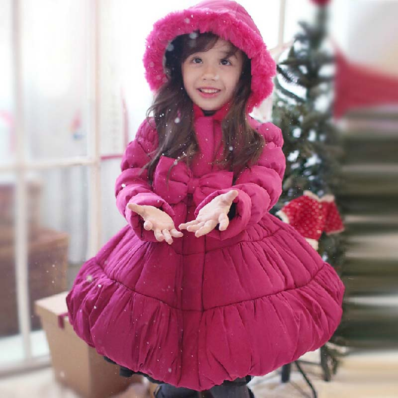 ФОТО Winter Jacket Girls Child  Christmas Thickening Of Keeping Warm Princess Rose Red Cotton Coat