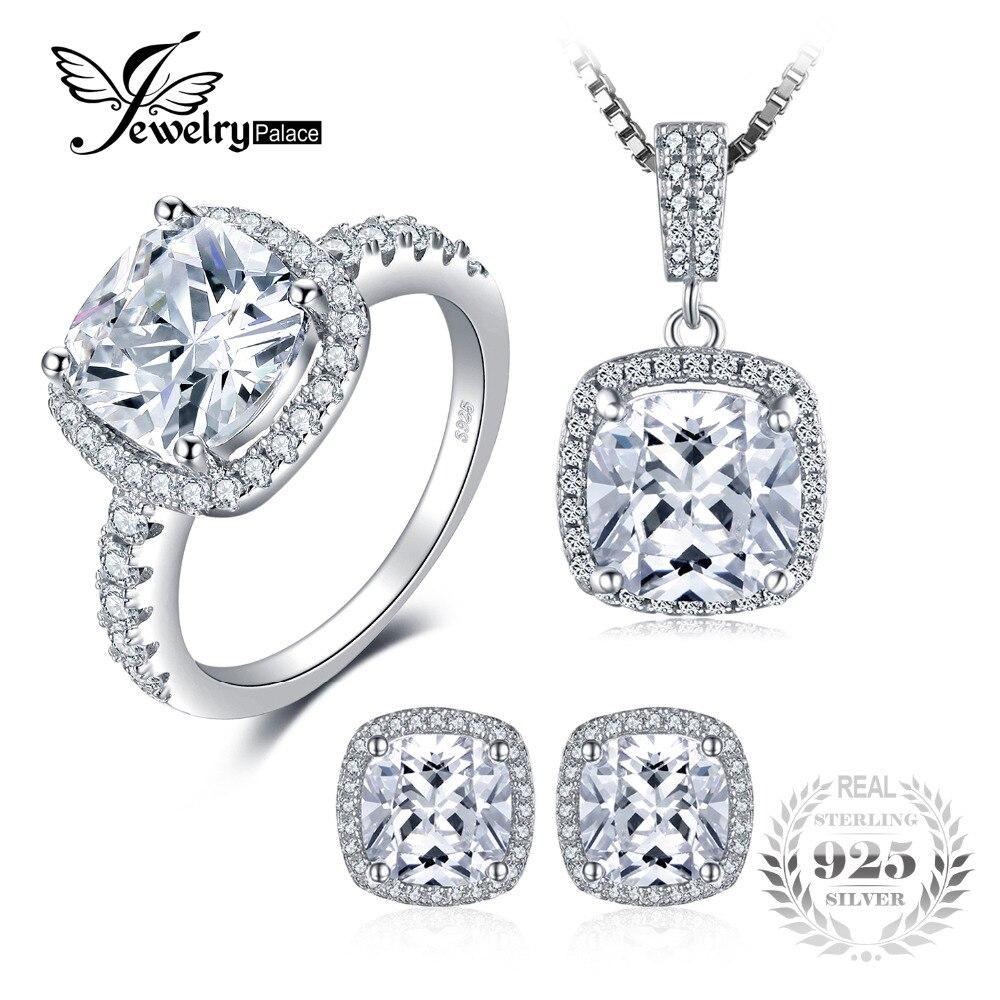 Jewelrypalace блестящие украшения, комплект кольцо, кулон, серьги уникальный стерлингового серебра 925 Красивые ювелирные изделия Марка 45 см цепи