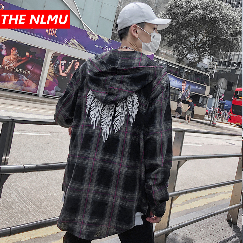 Plaid Shirts Men Hip Hop Long Sleeve Hooded Shirt Coats Feather Print Men Women Street Creative Shirt Tops Streetwear WG355