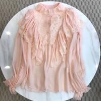 Dressnow pink blouse women long butterfly sleeve blouse 2018 summer ruffles lace blouse