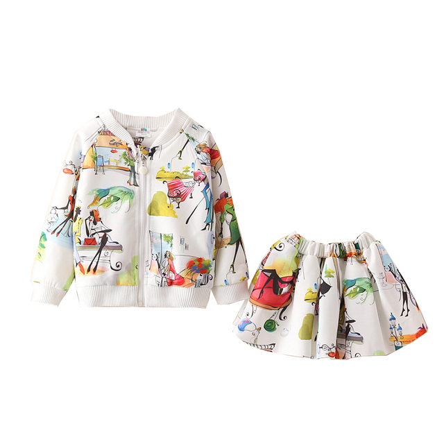 New Arrival LittleSpring Autumn 2Pcs Toddler Girl Clothes Little Girls Clothing Sets Trendy Print Bomber Jacket Mini Skirt Set