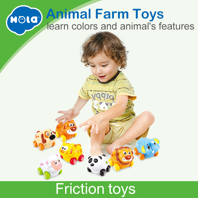 (Set of 3) Free Shipping Huile Toys Cheap Baby Toys Cartoon Animals Friction Push and Go Toy Cars Play Set for Baby 18 Month+