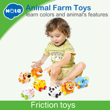 Купить с кэшбэком (Set of 3) Free Shipping Huile Toys Cheap Baby Toys Cartoon Animals Friction Push and Go Toy Cars Play Set for Baby 18 Month+