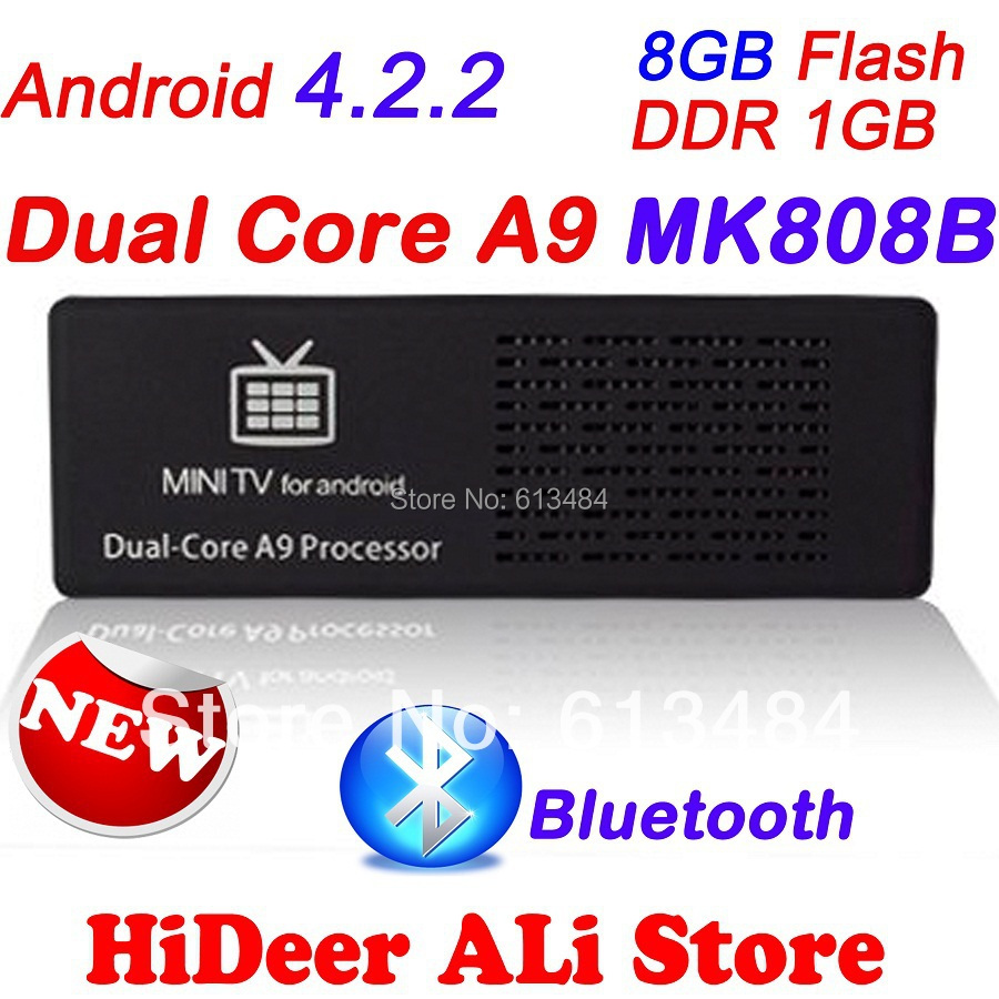 US $37 5 |Android 4 2 2 MK808B Bluetooth Mini PC RockChip RK3066 Dual Core  Cortex A9 1 6GHz 1GB / 8GB Google TV MK808 II Free Shipping-in Set-top
