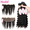 Mealid Deep Curly Brazilian Hair With Frontal Brazilian Virgin Hair 4 Bundles With Lace Frontal Deep Wave With Closure