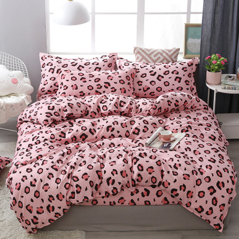 FUNBAKY 3/4pcs/Set Leopard Pink Comforter Bedding Sets Cotton Duvet Cover Set Pillowcase Bed Linen Linings Home Textile