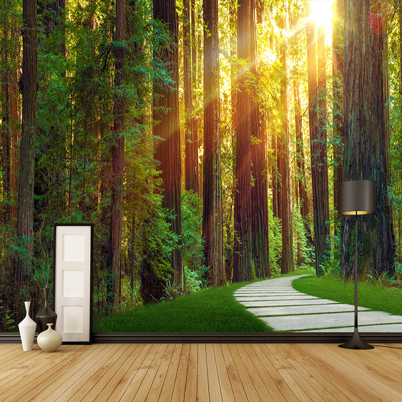 3D Wallpaper Primary Forest Sunshine Photo Wall Mural Living Room Bedroom Restaurant Backdrop Decor Mural Wallpaper For Wall 3 D luxury soft roll classical background 3d wall paper room mural rolls photo wallpaper for wall 3 d hotel livingroom bedroom decor