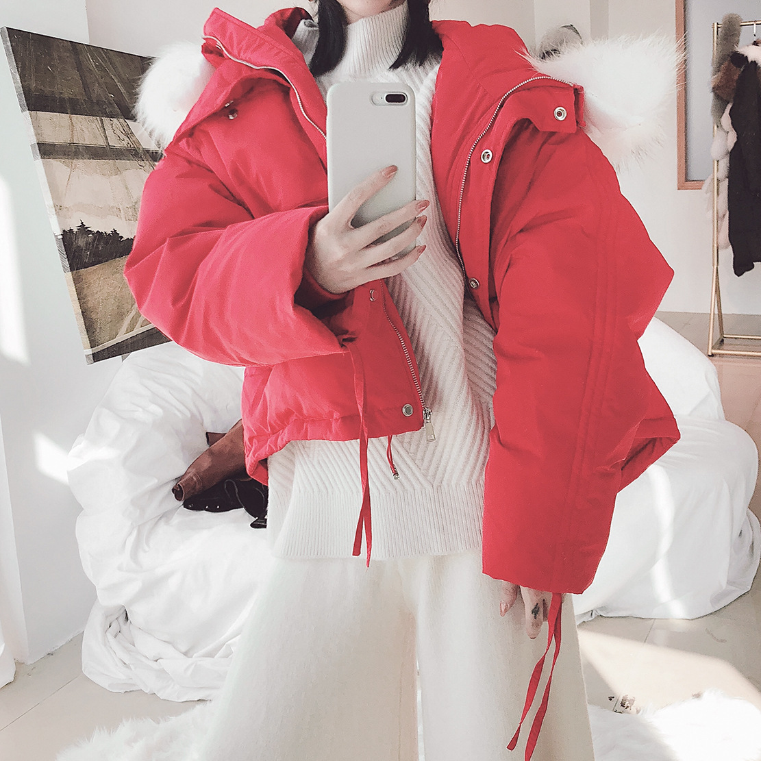 2018Winter   down   jacket woman hooded thick   down     coat   woman big raccoon fur white duck   down   drawstring oversize   down   jacket ky9118