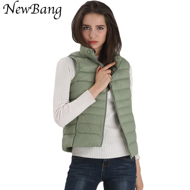 2016 New 90 Ultra Light Vest Sleeveless White Duck Down Vest Women Stand Collar Warm Vest S-XXXL With Carry Bag