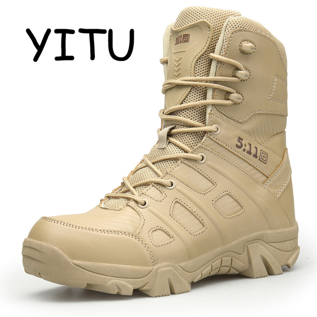 YITU Outdoor Leather Army Military Boots Tactical Men's Black 511 Tactical Boots Hiking Waterproof Combat Boots Desert Sneakers