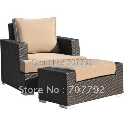 New Style 2 Piece Patio Woven Wicker Reclining Club Chair And Ottoman