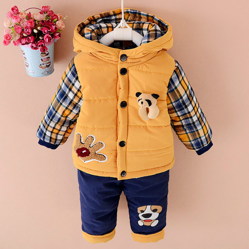 Baby Boys winter Clothing Set Down Parkas For Boy Warm Jacket Coats Pants Two Pieces Bear Pattern Hooded Size for 2,3,4 years new 2017 russia winter boys clothing warm jacket for kids thick coats high quality overalls for boy down