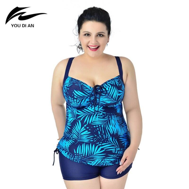 2018 New Female Leaf Print Beach Bikini Set Sexy Swimwear 2 Piece Swimsuit For Women Dress Bathing Suit plus Size 6XL
