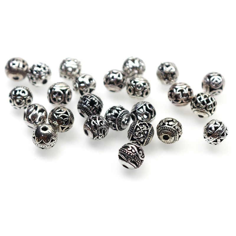 10 Buah/Banyak Tibet Perak 8 Mm Dicungkil Kupu-kupu Pola Lubang Besar Europen Pesona Pengatur Jarak Manik-manik untuk DIY Necaklace Perhiasan temuan