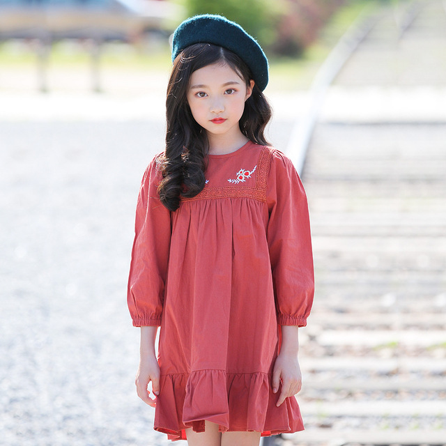 0eaf9c0c42d Girls Autumn Floral Embroidery Dress 2018 Cotton Princess Dresses Child Kids  Spring Long Sleeve Clothing for