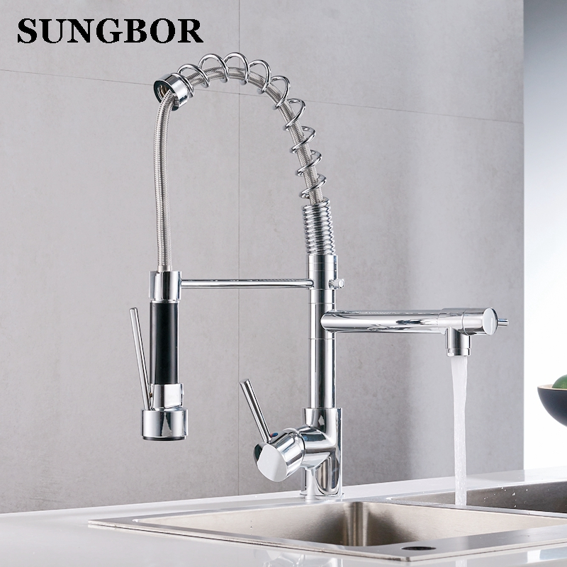 Kitchen Faucet Chrome Silver Brass Pull Out Spring Kitchen Sink Faucet Swivel Spout Tall Vessel Mixer Tap Torneira Para Cozinha polished chrome brass vessel sink mixer tap kitchen faucet spring faucet dual swivel spout 8 cover plate